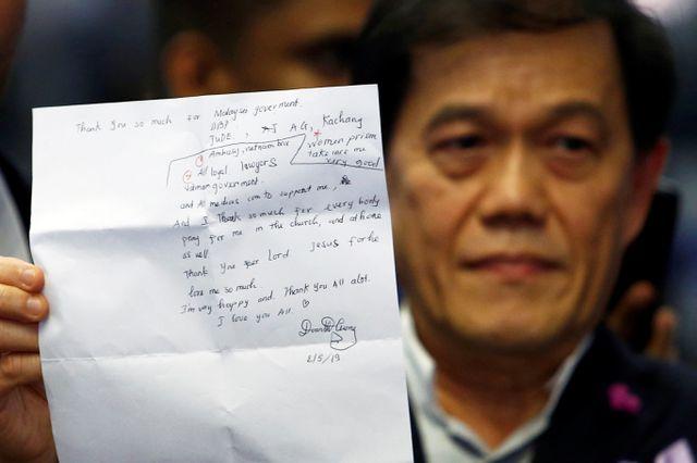 Đoàn Thị Hương viết thư cảm ơn trước khi được trả tự do