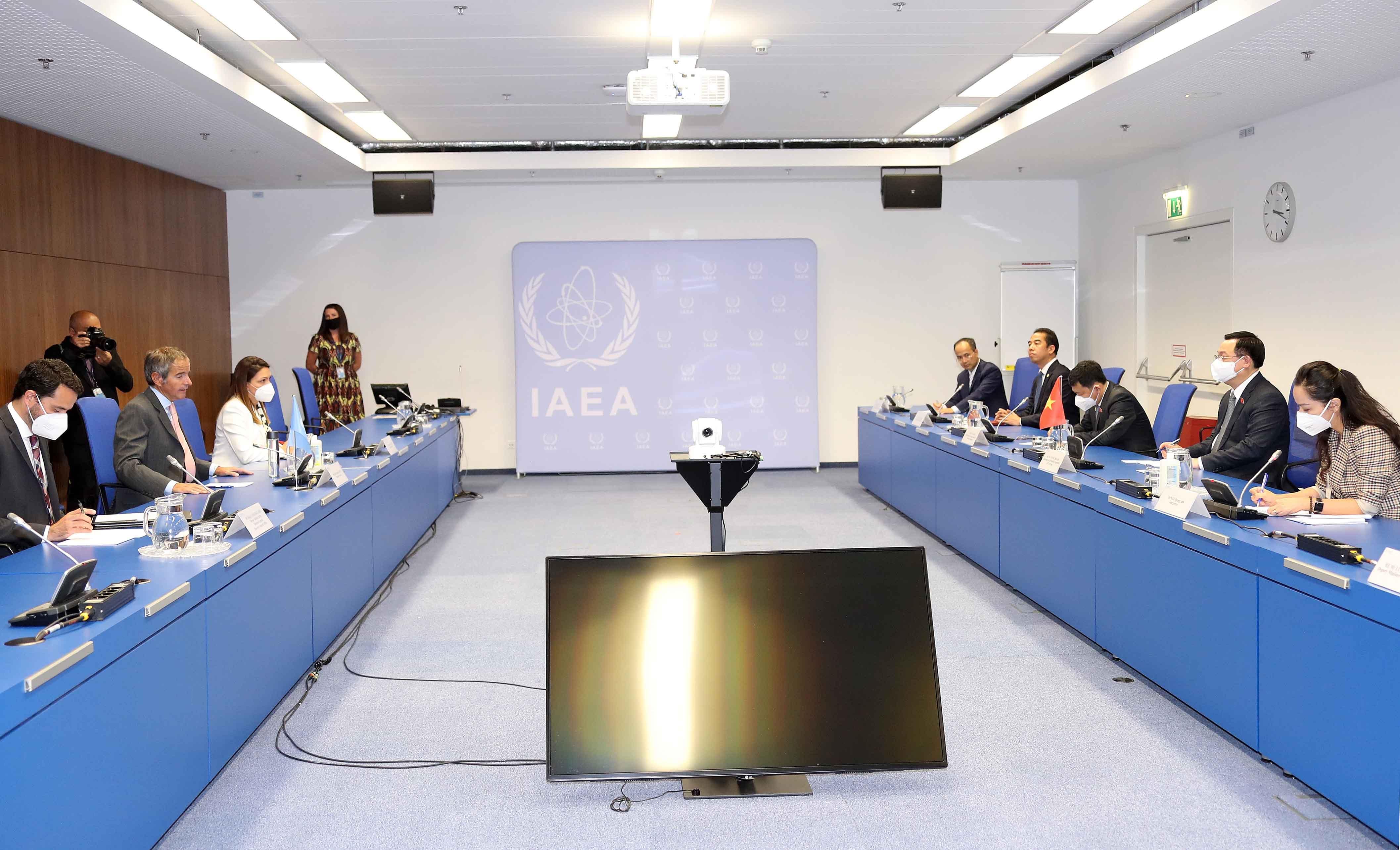 Chủ tịch Quốc hội Vương Đình Huệ tiếp Tổng Giám đốc cơ quan Năng lượng nguyên tử Quốc tế (IAEA)