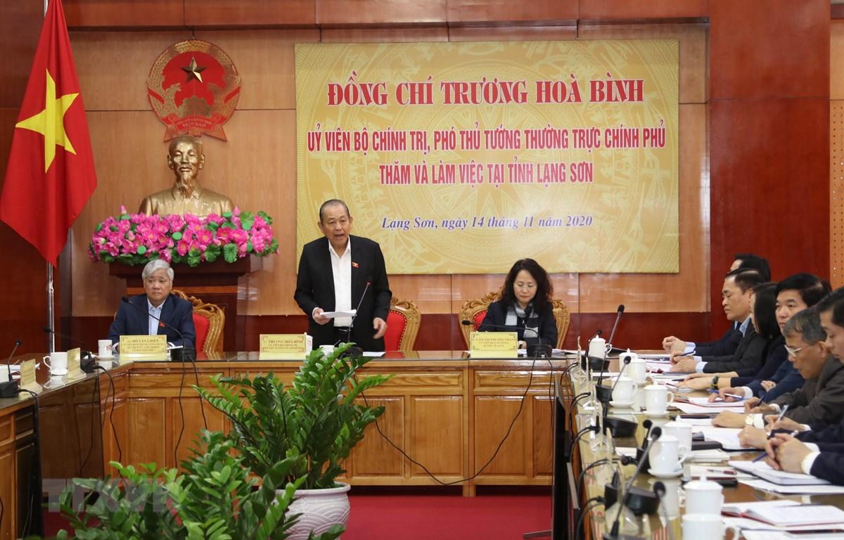 Phó Thủ tướng Trương Hòa Bình làm việc với lãnh đạo chủ chốt tỉnh Lạng Sơn