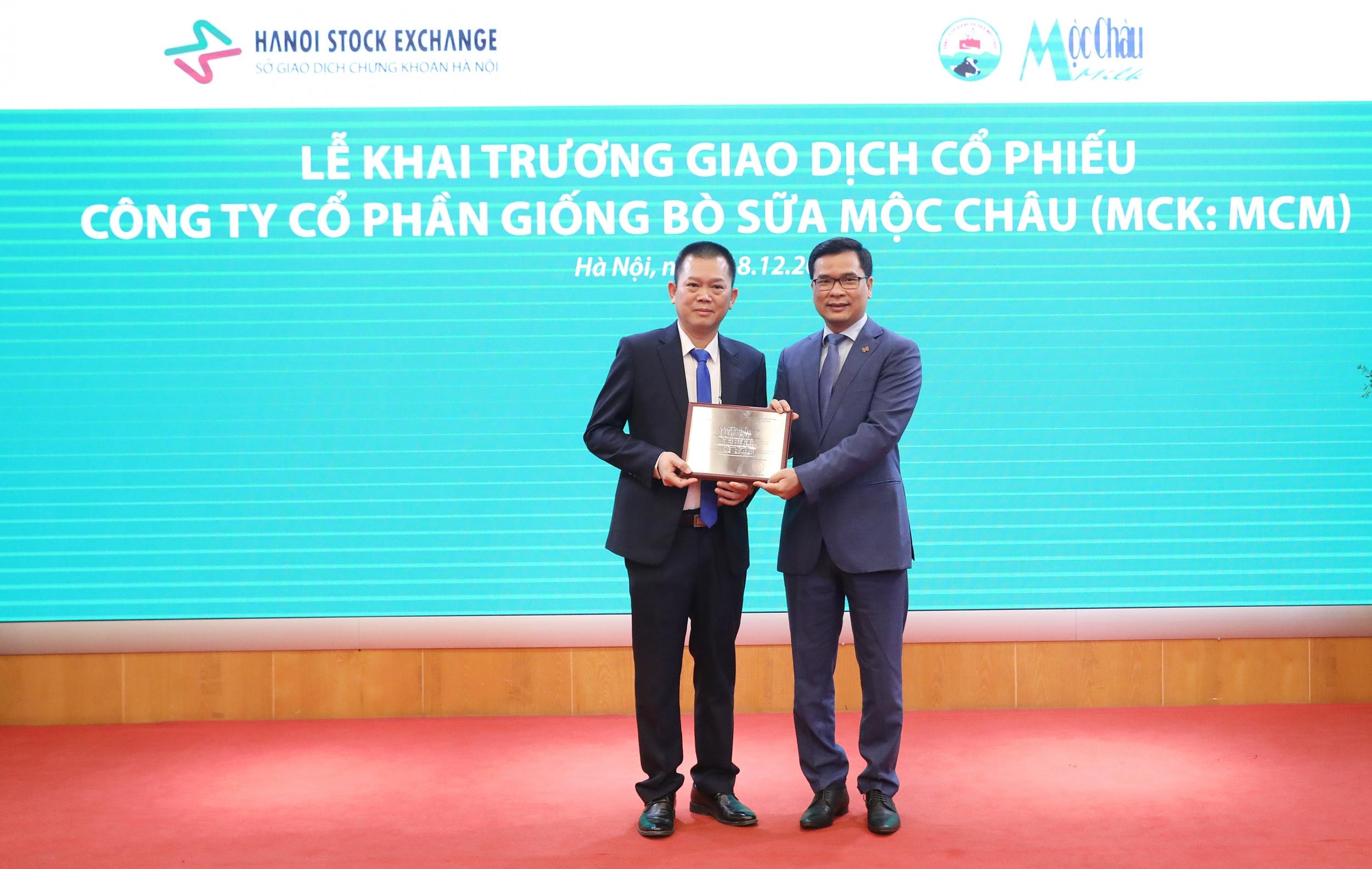 Lãnh đạo Sở Giao dịch chứng khoán Hà Nội (phải) trao chứng nhận đăng ký giao dịch cho Tổng giám đốc công ty Mộc Châu Milk (trái)