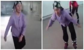 [VIDEO] Tròn mắt xem cụ bà trượt patin 'pro' hơn cả thanh niên