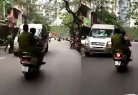 [VIDEO] Công an truy đuổi ô tô giật lùi bỏ chạy ở Hà Nội