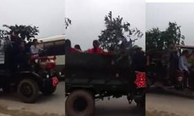 [VIDEO] Ngỡ ngàng với đoàn rước dâu ngụy trang xe thời chiến