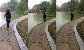 video vay tay chao ban thieu nu lao thang xuong ho