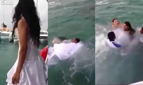[VIDEO] Nhảy xuống nước chụp ảnh cùng chú rể, cô dâu suýt chết đuối