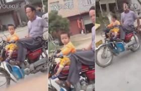 video ong bo dai dot de con trai 2 tuoi lai xe phong nhu bay tren duong