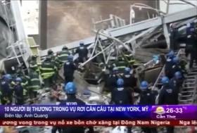 [VIDEO] Cần cẩu đổ sập khiến 10 người bị thương ở New York, Mỹ