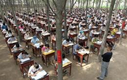 Trung Quốc cho học sinh thi trong rừng để... hạn chế gian lận