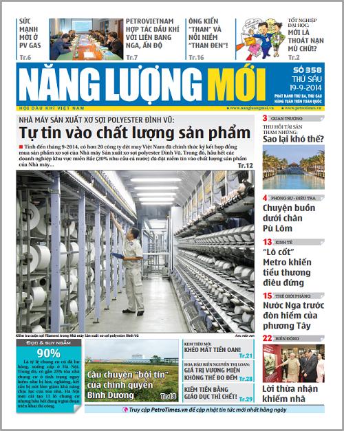 Đón đọc Báo Năng lượng Mới số 358, phát hành thứ Sáu ngày 19/9/2014