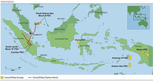 conocophillips de nghi gia han quyen dieu hanh tai lo corridor indonesia