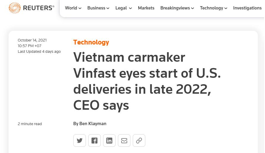 """Báo Quốc tế: Vinfast gây """"sốt"""" toàn cầu, hứa hẹn sẽ bùng nổ tại Mỹ"""