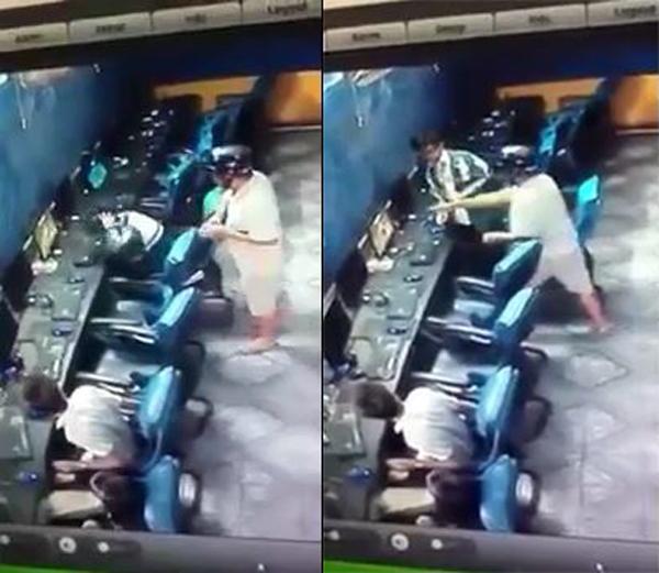 """[VIDEO] Bố tung """"liên hoàn chưởng"""" khi bắt quả tang con trai bỏ học chơi game"""
