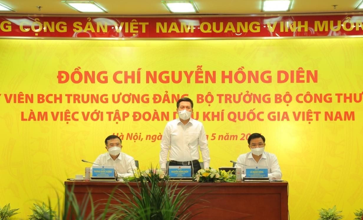 Bộ trưởng Nguyễn Hồng Diên làm việc với Tập đoàn Dầu khí Việt Nam