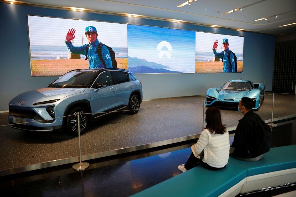 Xe điện Nio được trưng bày trong một triển lãm xe tại Thượng Hải