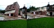 Ngôi nhà 3 tầng đổ sập vì mưa lớn