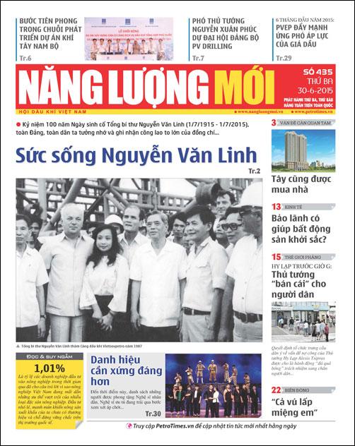 Đón đọc Báo Năng lượng Mới số 435, phát hành thứ Ba ngày 30/6/2015