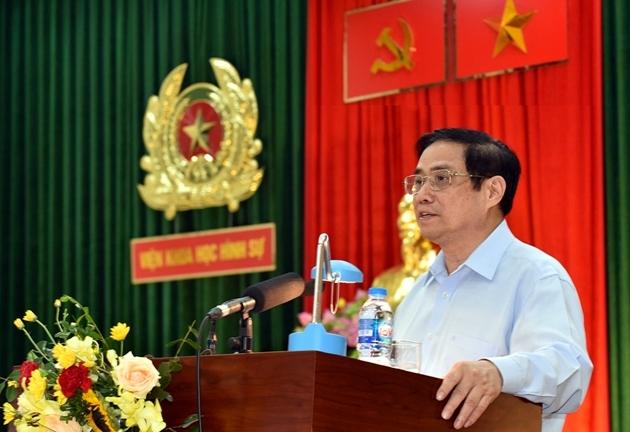 Thủ tướng Chính phủ Phạm Minh Chính làm việc với Viện Khoa học hình sự, Bộ Công an