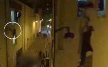Bà bầu đu người trên cửa sổ trốn kẻ khủng bố Paris