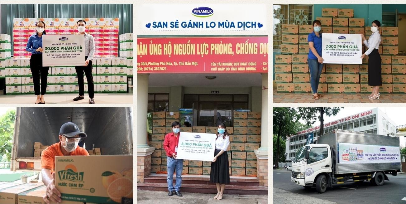 San sẻ khó khăn mùa dịch, Vinamilk tặng 45.000 phần quà cho người dân gặp khó khăn