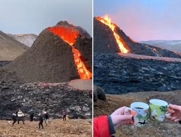 """""""Choáng"""" với cảnh chơi bóng chuyền, nướng xúc xích và uống cà phê trên miệng núi lửa"""