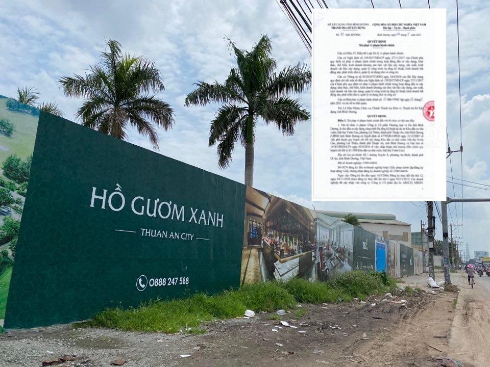 Dự án khu dân cư Hồ Gươm Xanh Thuận An City xây dựng không phép
