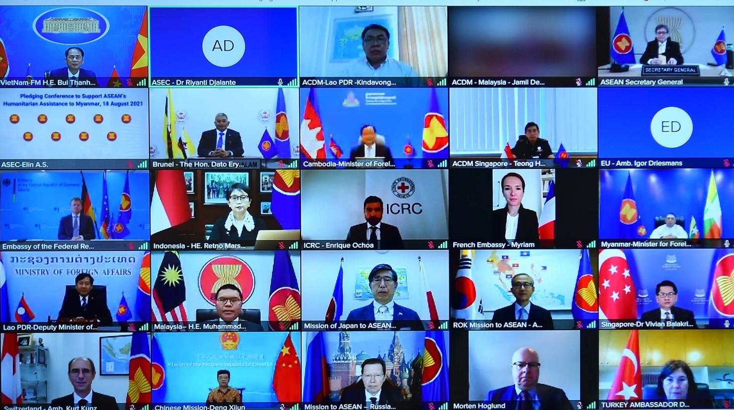 Hội nghị trực tuyến huy động hỗ trợ nhân đạo của ASEAN cho Myanmar