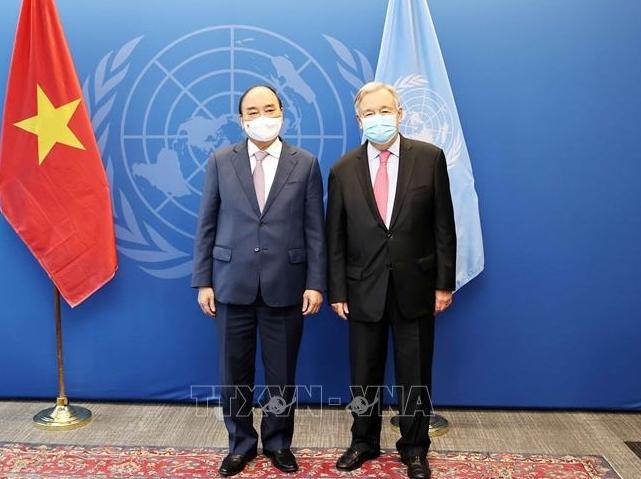 Chủ tịch nước Nguyễn Xuân Phúc hội kiến Chủ tịch Đại hội đồng và Tổng thư ký LHQ