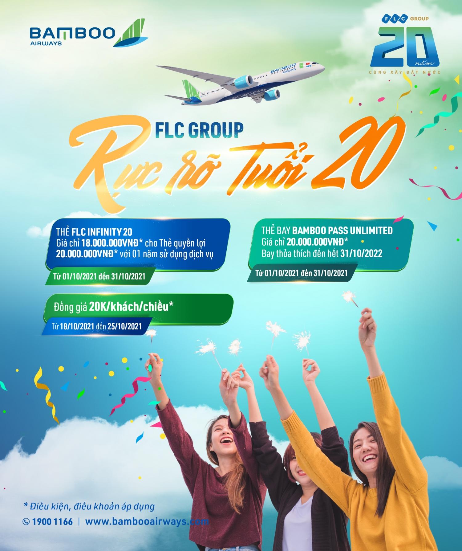 Bamboo Airways tưng bừng mở tiệc ưu đãi mừng sinh nhật FLC 20 tuổi