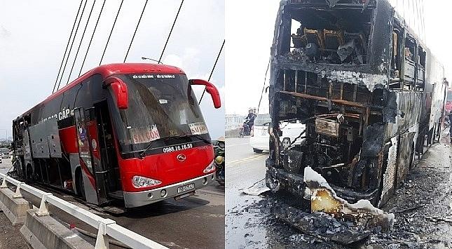 Hải Phòng: Xe khách giường nằm cháy rụi trên cầu Bính