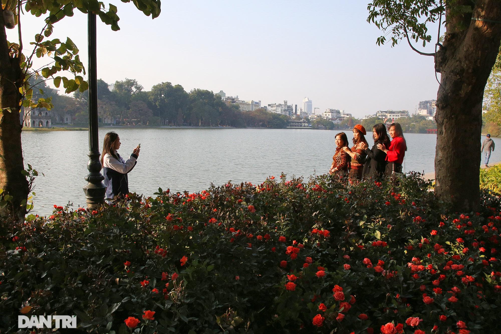 Hồ Gươm trang trí hoa rực rỡ sắc màu chào mừng Đại hội XIII của Đảng - 8