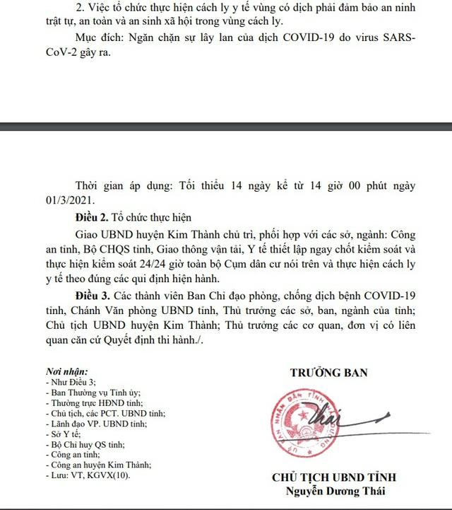 Hải Dương: Cách ly y tế hơn 7.000 dân tại ổ dịch Kim Đính huyện Kim Thành - 3
