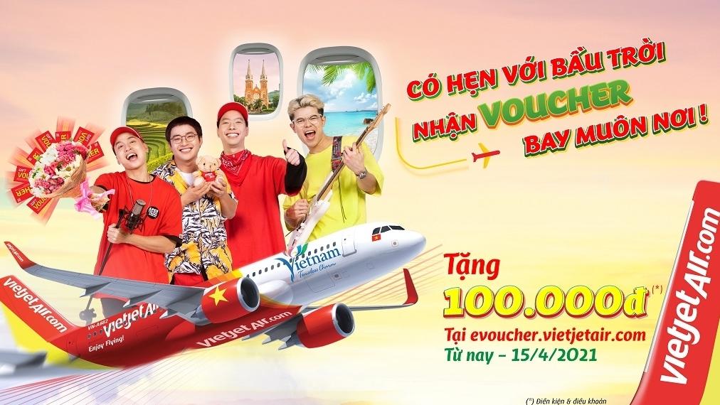 Tặng voucher 100.000 đồng cho mỗi vé bay cùng Vietjet