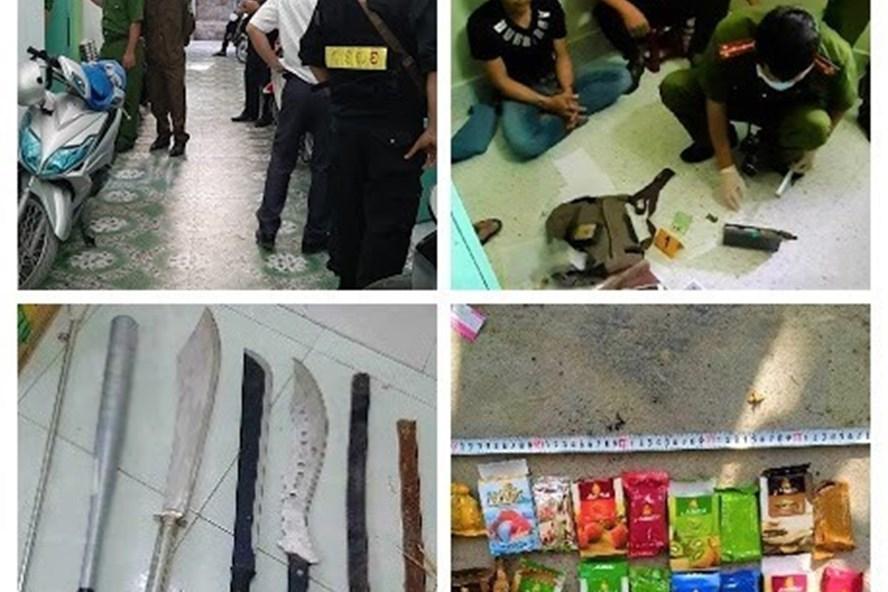 Công an tỉnh Tiền Giang bắt các đối tượng và thu nhiều tang vật liên quan đến vụ án Ảnh: LDO