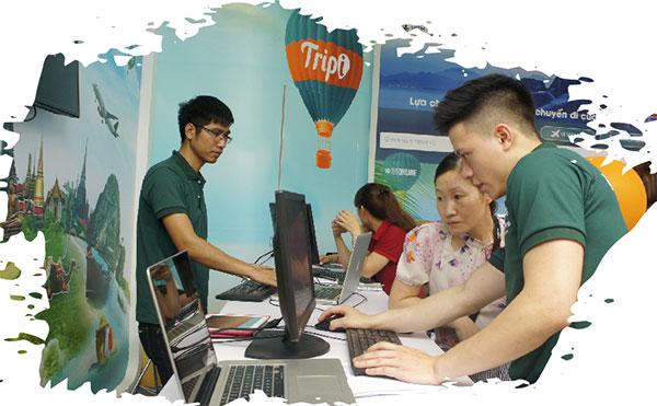 Sàn giao dịch Du lịch trực tuyến Tripi tại Hội chợ Du lịch quốc tế VITM. Ảnh: Thảo Linh
