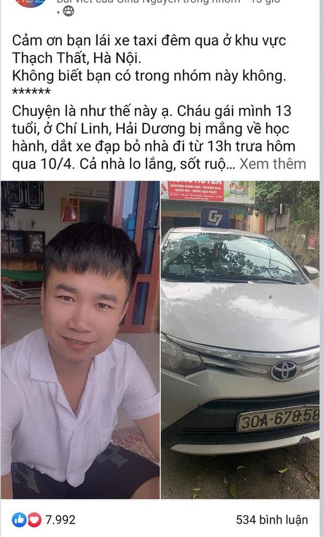 Tài xế taxi giúp đỡ bé gái 13 tuổi đi lạc từ Hải Dương lên Hà Nội - 2