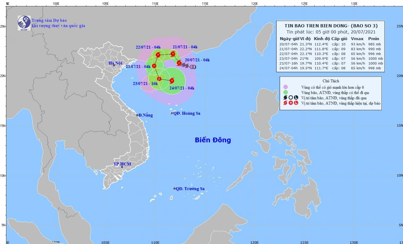 Bão số 3 giật cấp 12 trên Biển Đông, cảnh báo biển động rất mạnh