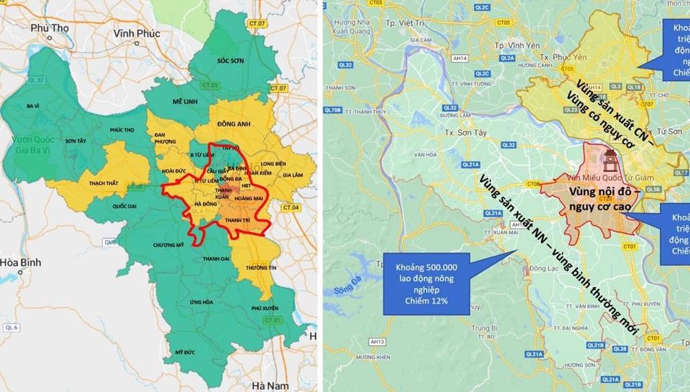 """Chi tiết phân vùng thực hiện giãn cách sau ngày 6/9 của TP Hà Nội: Xác định 15 điểm """"đỏ"""""""