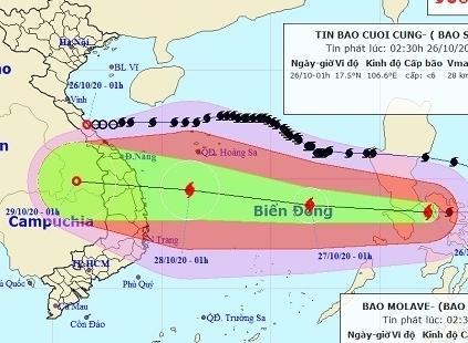 Bão Molave giật cấp 14 khi vào Biển Đông và tiếp tục mạnh thêm