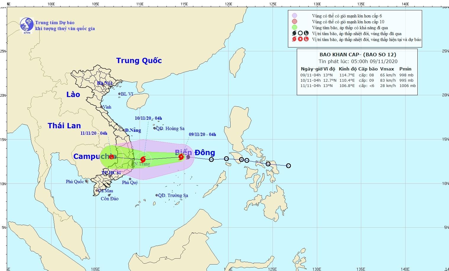 Cơn bão số 12 giật cấp 10, di chuyển nhanh và mạnh thêm trước khi đổ bộ Phú Yên - Ninh Thuận