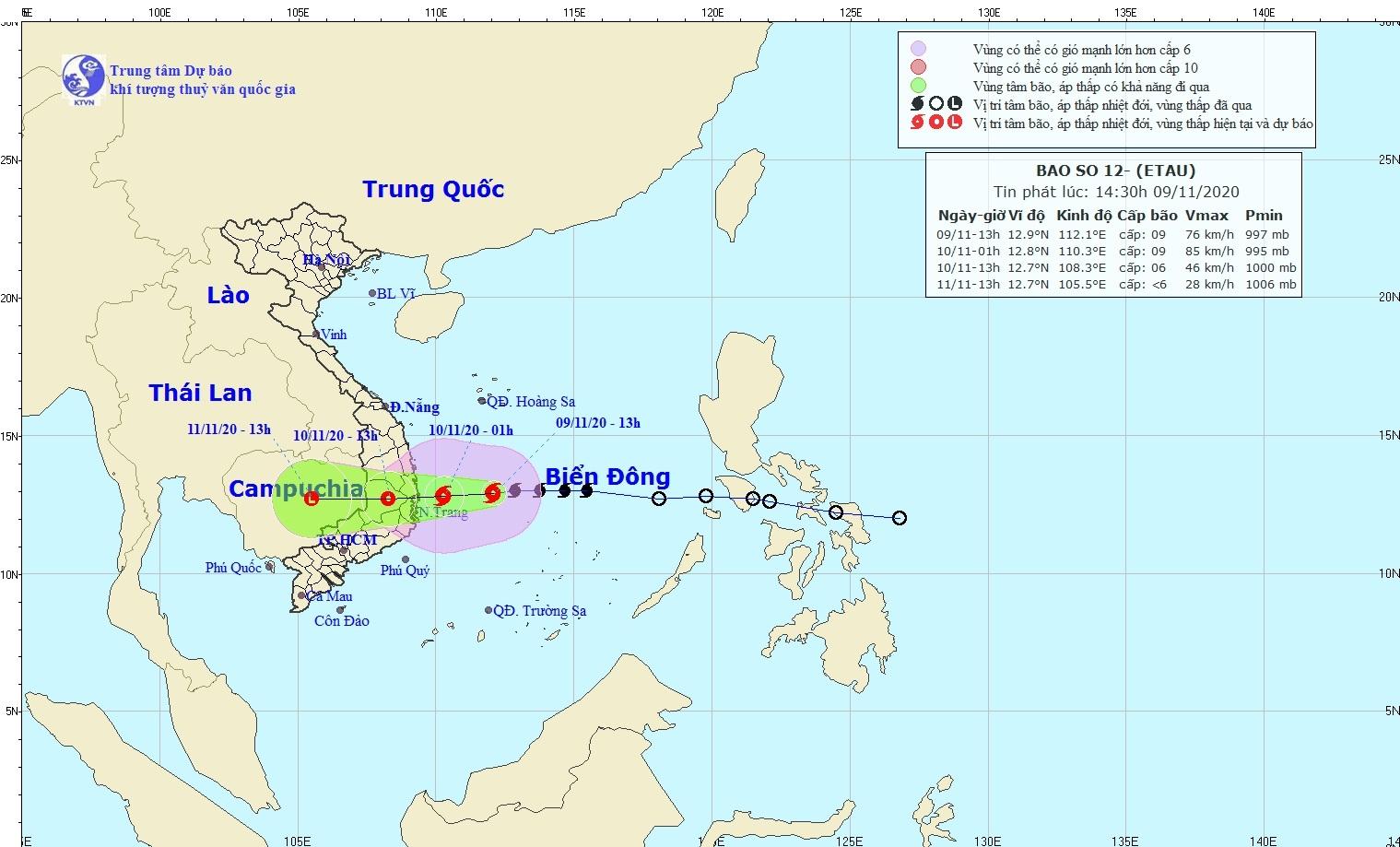 Bão số 12 giật cấp 11, tiếp tục mạnh thêm trước khi đổ bộ Bình Định - Ninh Thuận
