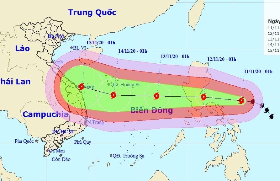 Bão Vamco di chuyển nhanh, mạnh hướng vào Biển Đông, nhiều tỉnh miền Trung mưa lớn