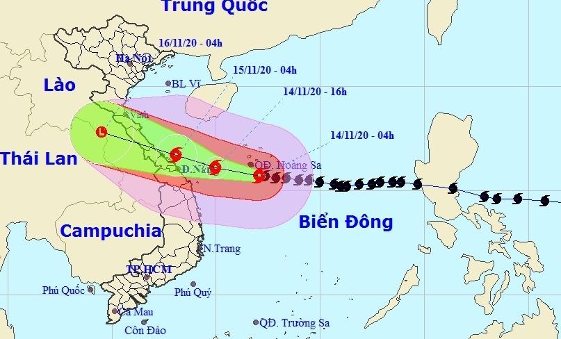 Bão số 13 đang giật cấp 17, giảm cấp 15 khi cách Đà Nẵng - Thừa Thiên Huế khoảng 190km