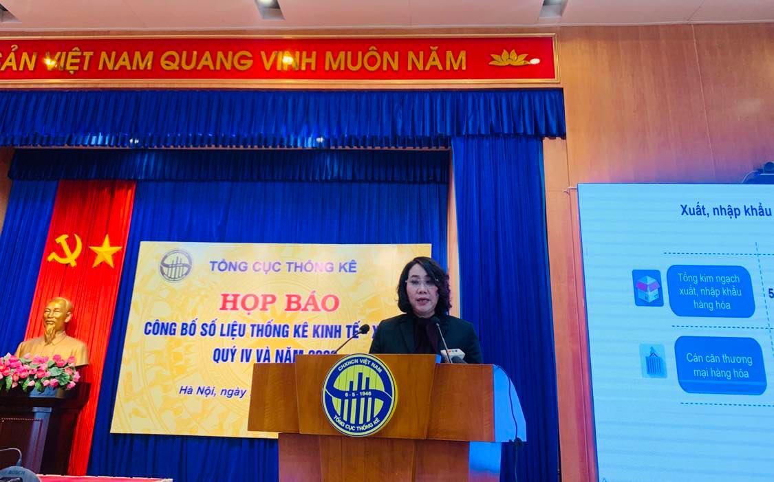 bà Nguyễn Thị Hương, Tổng cục trưởng Tổng cục Thống kê, cho biết GDP quý IV ước tính tăng 4,48% so với cùng kỳ năm trước
