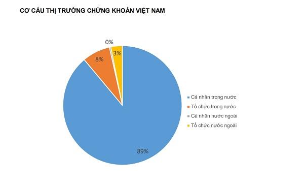 Chưa bao giờ TTCK Việt Nam có sức mạnh lớn đến từ nhà đầu tư cá nhân trong nước mạnh mẽ chiếm tỷ trọng lớn trong cơ cấu thị trường như năm 2020. Ảnh: Thống kê của Fiin Pro & Yuanta