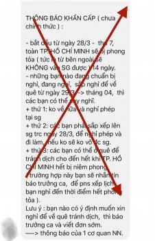 """Bác bỏ thông tin """"TP HCM phong tỏa 14 ngày"""""""