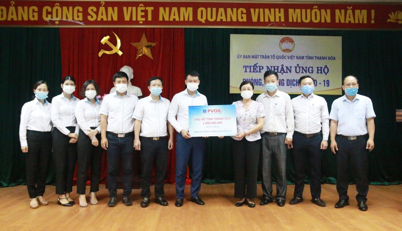 PVOIL ủng hộ tỉnh Thanh Hóa 1 tỷ đồng thực hiện công tác phòng chống dịch Covid-19