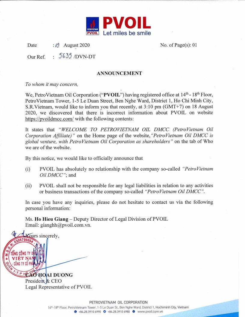 """PVOIL thông báo thông tin không đúng về PVOIL trên trang mạng liên quan đến công ty """"PETROVIETNAM OIL DMCC"""""""