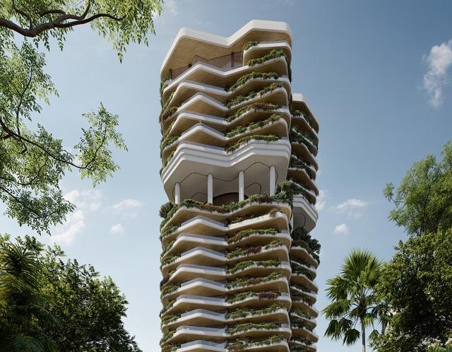 Khu vườn thẳng đứng bên trong tòa tháp ruộng bậc thang ở Singapore - 1