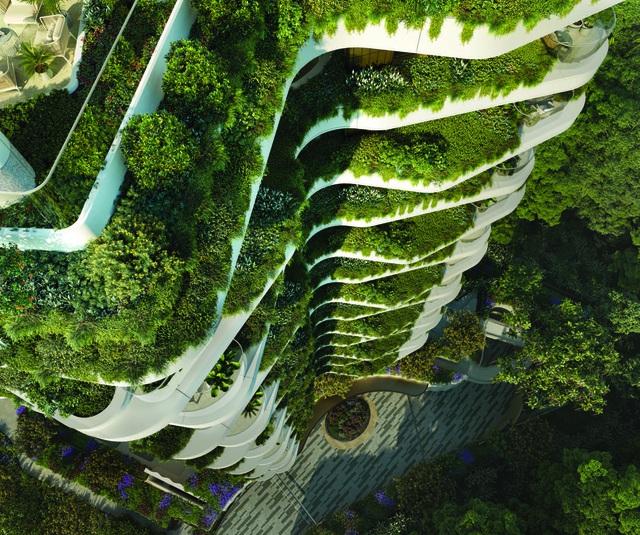 Khu vườn thẳng đứng bên trong tòa tháp ruộng bậc thang ở Singapore - 2