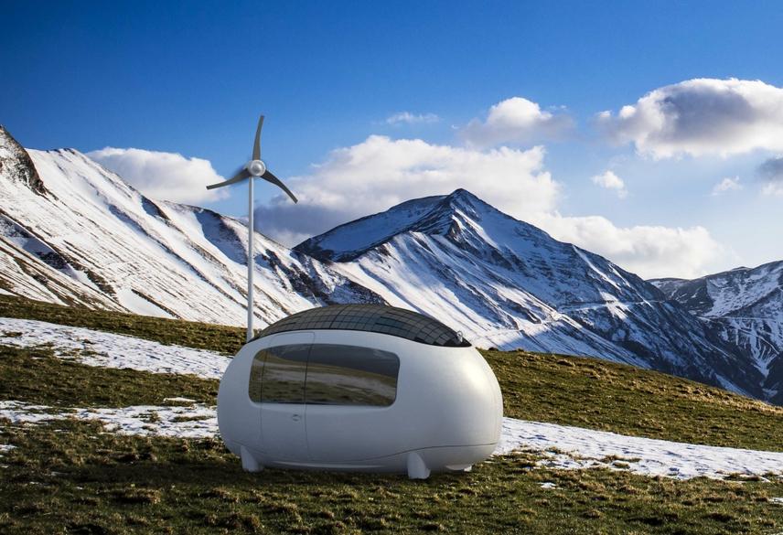 Nhà mini hình quả trứng sử dụng năng lượng tái tạo